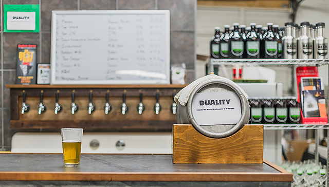 The bar top and Friday's cask beer